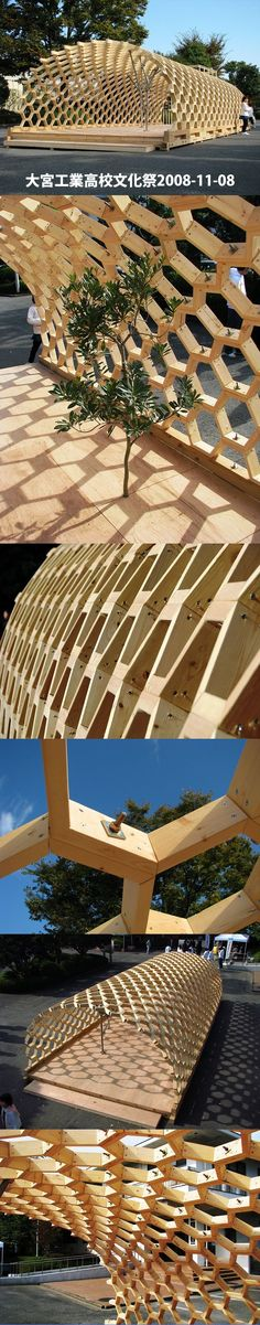 大宮工業高校文化祭: 学校に入るといきなり、建築家が作ったハニカム構造のドーム?がありました