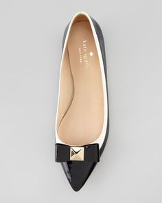 Kate Spade B/W Bow Pointed Toe Shoes