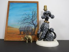 Vintage Poodle Lamp // Ceramic Dog Shaped Decorative Lamp Mid Century Kitschy Quirky Home Decor Lighting Bedside Nightstand Vanity 1950's