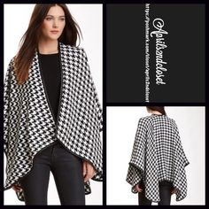 "Blanket Wrap S, M, L, XL Cape Oversized Boyfriend RETAIL PRICE: $98  NEW WITH TAGS  Blanket Wrap Houndstooth  * A super soft knit construction  * Allover houndstooth print & faux leather black trim.  * Cozy & soft fabric.   * About 106"" L X 50"" W; One size fits most.  Fabric: 100% acrylic  Color: Black & White Item:  No Trades ✅ Offers Considered*/Bundle Discounts✅ *Please use the 'offer' button to submit an offer. Boutique Sweaters Shrugs & Ponchos"