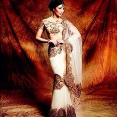 #NeetaLulla saree available at BIBI LONDON as seen in @AsianBrideMagazine / Email contact@bibilondon.com for info #bibilondon #saree #summer #antiquegold #elegant #classy #couture #picoftheday #indian #fashion #desi #london #designer #wedding #bridal #reception #party #delicate #ivory #amazing