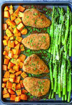 asparagus, bread crumb, chicken, healthy, recipes, squash