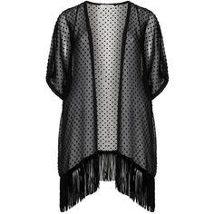 a3925bded6 Maxima Black Plus Size Textured fringed kimono jacket found on Polyvore  Black Kimono Jacket