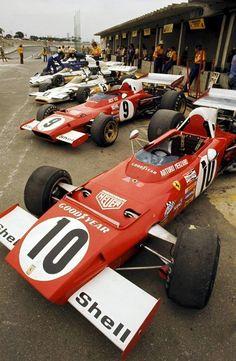 Interlagos F1 GP, 1973  The two Scuderia Ferrari in pit lane. Jackie Ickx and Arturo Merzario.