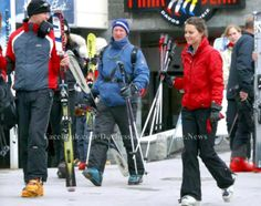 3.30.2005: Prince William (left) and Kate on a ski vacation in Klosters, Switzerland.