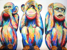 Animal Paintings, Animal Drawings, Colorful Pictures, Art Pictures, Three Wise Monkeys, Monkey Art, Beginner Art, Airbrush Art, Arte Pop