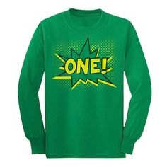 One! Superhero First Birthday - One Year Bday Gift Idea Long sleeve kids T-Shirt X-Large Green. Look AMAZING wearing our classic crew neckline long sleeve t-shirt, 100% combed-cotton. Wear it day or night for an instantly awesome look!. Trendy, brightly colored graphics. A unique gift idea for a friend or family member. Available in toddler- junior / youth size. Printed exclusively in the USA. Using the latest in garment printing technology - the same quality you will find in any city...
