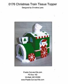 Christmas Train Tissue Topper  Plastic Canvas