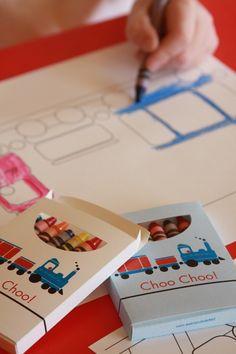 custom choo choo crayon boxes