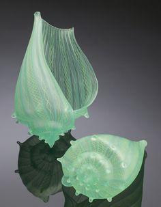 Pale Green Zanfirico Conch Shells by Silkwood Glass   artists Treg Silkwood and Candace Martin