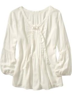 old navy,   V-neckline with ribbon-tie keyhole opening; Soft pleats across the yoke and bodice;Gathered 3/4-length sleeves; Smooth, lightweight woven rayon; $36.94