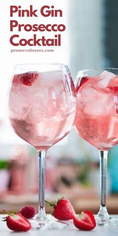 This recipe for pink gin prosecco cocktails will get the party started! Check out this amazing set of Gin Glasses here Ingredi. Gin And Prosecco Cocktail, Prosecco Cocktails, Cocktail Drinks, Pink Prosecco, Gin Cocktail Recipes, Pink Cocktails, Pink Alcoholic Drinks, Low Calorie Alcoholic Drinks, White Wine Spritzer