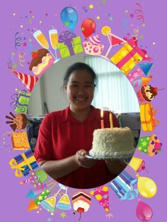 The birthday's young lady.. #happy #cake #rainbow #cheese #candles