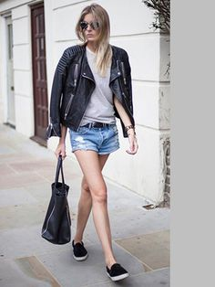 leather jacket, jeans shorts and a grey t