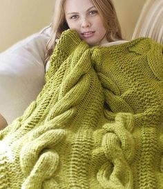 Cable Comfort Throw by Lion Brand Knit Blanket Kit Yarn Projects, Knitting Projects, Crochet Projects, Loom Knitting, Knitting Patterns, Crochet Patterns, Knitted Afghans, Knitted Blankets, Lion Brand Wool Ease