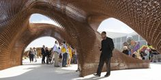 Biodegradable bamboo filament makes up the globe's largest 3D printed object, an installation for this year's Design Miami Fair designed by SHoP Architects called