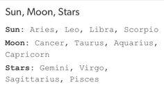 Sun, Moon, Stars That's funny because I love the stars. Aquarius