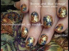 blue flowers nail art blue & bronze with micro beads robin moses design tutorial 715