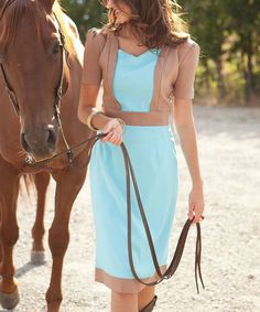 Brown & Turquoise Sidesaddle Dress by Shabby Apple #zulily #zulilyfinds