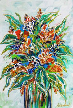 This is an original floral painting created with a mixture of acrylic paints on wood canvas. The perfect gift for the nature lover! Great in pairs over a table or couch. See my other options and colors to create a collage. Includes shades of bright blue, teal, green, turquoise, gold accents, white, teal and silver background, white sides. This is a signed original. **** As you can see from the posting there are three available paintings. Please indicate when ordering which painting you…