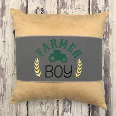 Farmer Boy Tractor Pillow Band Pillow Wrap Gray Green Yellow