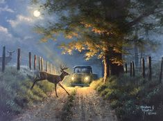Deer Crossing by Abraham Hunter   Years ago, I visited Cades Cove in Tennessee for the first time. I arrived before sunrise and was shocked at all of the wildlife that seemed to be fearless of my presence. I began snapping photos of a very large whitetail buck beside the road. He was so majestic in the dense fog. Right then, I…   #art #artwork #abrahamhunter #decor #homedecor  #deer #cadescove #cadescovepainting