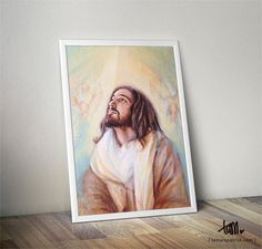 A4 Artprint of 'Jesus Angels' painting featuring Jesus, Yeshua, surrounded by angels
