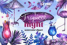 Tropical night - Watercolor set