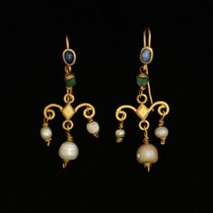 Pair of gold earrings set with sapphires and hung with emeralds and pearls, Europe (Roman), 1st-4th century. V and A