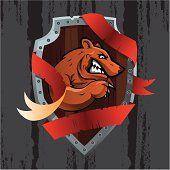 vector tecido com urso e riscas vermelhas contra fundo grunge