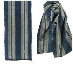 Hand Loomed Ikat. Antique Japanese Textile. Striped by FurugiStar