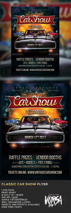 Car Show Flyer Template | Flyer Template, Cheer And Fonts