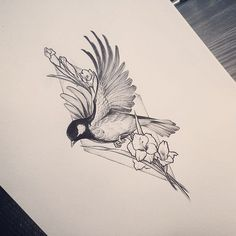 Flying sparrow with flowers on rhombus background tattoo design