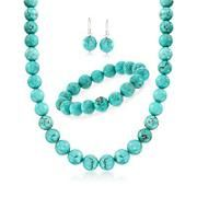 Simulated Turquoise Bead Necklace With Free Earrings and Bracelet. 18""