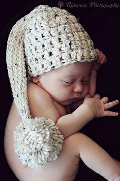 Newborn Oatmeal color elfin pixie cap pom pom /hat