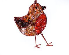 Beaded Robin Necklace MADE TO ORDER by LucyJewellery on Etsy, £35.00