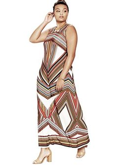 861a4da743bd7 Roamans Womens Plus Size Maxi Dress Copper Red Print2224 *** Read more at  the