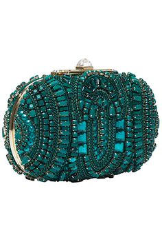 Trendy Women's Purses : Elie Saab – Accessories – 2013 Pre-Fall Beaded Purses, Beaded Bags, Elie Saab, Shades Of Teal, Vintage Purses, Womens Purses, Clutch Wallet, Clutch Bags, Beautiful Bags