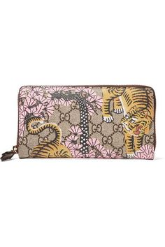 Gucci - Leather-trimmed Printed Coated-canvas Continental Wallet - Beige - one size