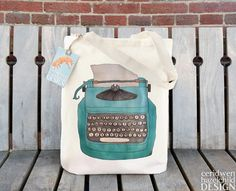Typewriter Fair Trade Tote Bag Reusable Shopper Bag Cotton Tote Shopping Bag Eco Tote Bag Reusable Grocery Bag by ceridwenDESIGN https://www.etsy.com/listing/89730106/typewriter-fair-trade-tote-bag-reusable?ref=rss
