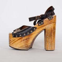 70's leather wood platforms size 9 by PleiadesVintage on Etsy, $220.00