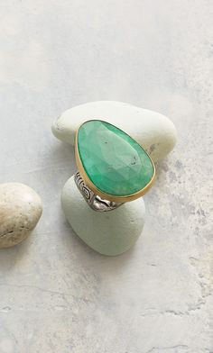 Dream Big Ring - Dream big in a stunning chrysoprase statement ring handmade by Jes MaHarry, with expertly faceted chrysoprase set in 14kt gold on a hand-engraved sterling silver band.