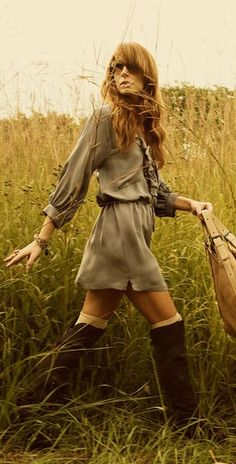 "Love the dress and boots! - but really, sometimes style photos are so weird. ""I look lovely, so I will walk around in a field""?"