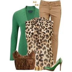 Green & Leopard Contest in 2020 Chic Outfits, Fall Outfits, Fashion Outfits, Womens Fashion, Green Outfits, Work Outfits, Fashion Clothes, Mode Chic, Mode Style