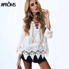 Elegant crochet floral lace blouse shirt Women 3/4 sleeve white Tunic blouses