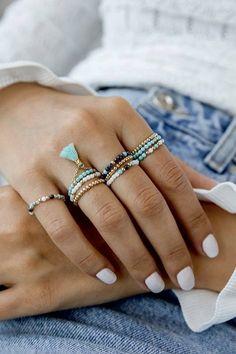 Diy Beaded Rings, Diy Jewelry Rings, Bead Jewellery, Seed Bead Jewelry, Cute Jewelry, Jewelry Crafts, Handmade Jewelry, Jewelry Making, Beaded Bracelets