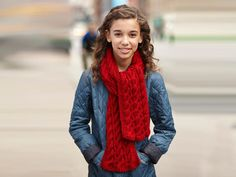 Two sided knit cable scarf