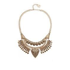 Adia Kibur Nicole Statement Necklace (225 RON) ❤ liked on Polyvore featuring jewelry, necklaces, gold, adjustable necklace, yellow gold jewelry, bib jewelry, gold jewelry and gold jewellery