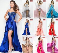 Long Cocktail/Homecoming/Prom Dresses 2016 Beaded Blue/Silver/Red/Pink/ Split Prom Gowns…