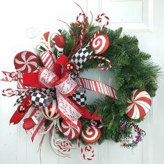 Christmas Wreath -Holiday Wreath - Peppermint Whimsical Candy Wreath